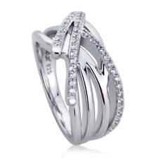 Women 10mm Platinum Plated Silver 0.35ct Round CZ Pave Set Engagement Ring