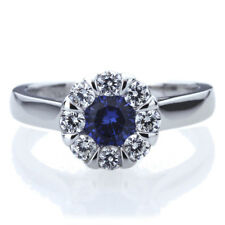 Women 7.5mm Platinum Plated Silver 1ct Sapphire CZ Engagement Ring set