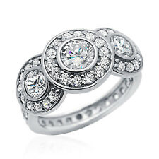 Women 12mm Rhodium Plated Silver Ring CZ Halo Eternity Engagement Band set