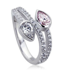 Women 11mm Platinum Plated Silver 1ct Pear Pink CZ Engagement Ring set
