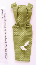 1962 BARBIE OLIVE SHEATH DRESS w GOLD BUTTONS OUTFIT & HEELS