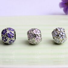 Flower Glass Round Spacer Loose Beads For Womens Bracelet Bangle Gift Jewellery