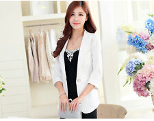 Fashion  Women Candy Color One Button Blazer 3/4 Sleeve Jacket OL Slim Suit