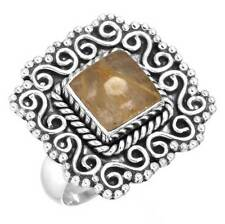 925 Sterling Silver Golden Rutilated quartz Collectible Ring Size 7 cg72019