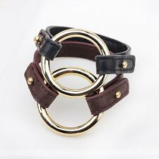 Men's Braided Bangle Leather Cuff Round Wristband Brown Black Bracelet Jewellery