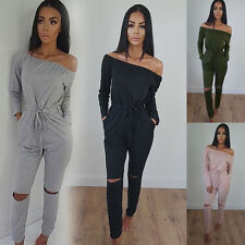 Women Autumn Long Sleeve Rompers Off Shoulder Holes Slim Casual Pants Jumpsuits