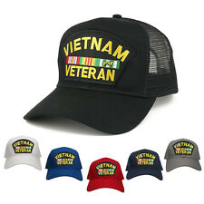Military Vietnam Veteran Large Embroidered Patch Adjustable Mesh Trucker Cap