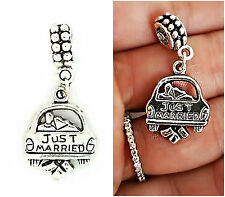 Anniversary  Just Married car charm pendant for fit European bracelet necklace