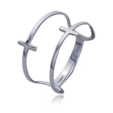 Women 11mm 14K White Gold Double Sideway Cross Knuckle Ring Band / Gift Box