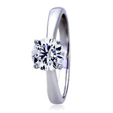 Women's Fine band 7mm 14K White Gold 1.25ct CZ Solitaire Wedding Engagement Ring