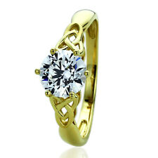 Women's Fine band 8mm 14K Yellow Gold 1.25ct CZ Celtic Love Knot Engagement Ring