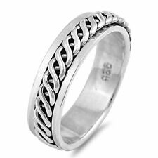 Men Women 6mm 925 Sterling Silver Band Celtic Design Spinner Ring / Gift Box