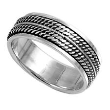 Men 8mm 925 Sterling Silver Band Oxidize Finish Braided Rope Spinner Ring
