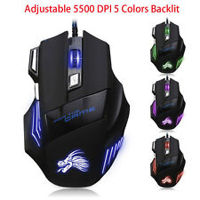 5500 DPI 7 Button LED Optical USB Wire Gaming Mouse Mice For Pro Gamer Cheap LOT
