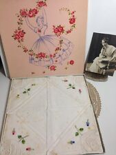 Vintage Boxed SWISS EMBROIDERED HANDKERCHIEF x 4 Cotton Rose Flowers Crinoline