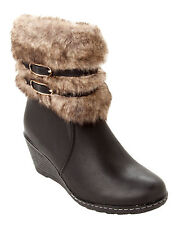 WOMENS BLACK FAUX FUR CUFF WEDGE ZIP HIGH ANKLE WINTER BOOTS LADIES UK SIZE 3-8