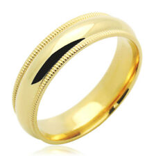 Men Women 14K Yellow Gold 5mm Milgrain Plain Domed Wedding Band Ring / Gift Box