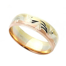 Men Women 14K Tri Color Gold 6mm Dia Cut Wedding Band Right Hand Ring / Gift Box