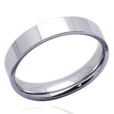 Men Women 14K White Gold 4mm Plain Flat Wedding Band Right Hand Ring / Gift Box