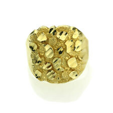 Men Women 14K Yellow Gold 20mm Solid Nugget Ring Right Hand Band / Gift Box