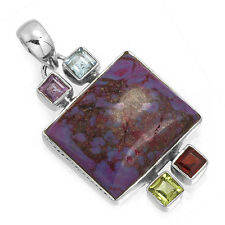 Copper Purple Turquoise Designer Pendant 925 Solid Sterling Silver cg35701