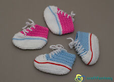 New hand knitted crochet  pink and blue baby booties trainers sneakers