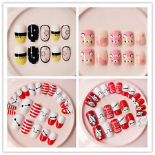 24PCS With Glue False Fingernails Mixtapes French Manicure Full Nail Tips