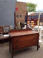 VINTAGE EDWARDIAN TWO DRAWER DRESSING TABLE & MIRROR - SHABBY CHIC CHALK PAINT