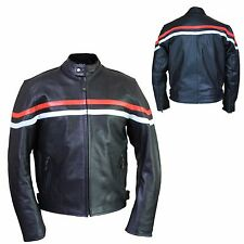 Mens Genuine Buffalo Leather Motorcycle Biker Classic  Racer Jackets Size L XL M