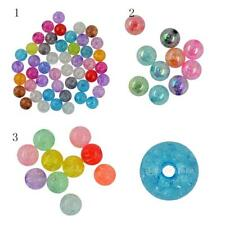 50/10pcs Crafts Mixed Colours Crackle Acrylic Spacer Ball Beads 12/18/22mm Dia.