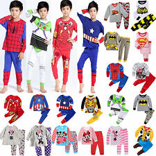 Cartoon Kids Toddler Baby Boys Girls Costume Pyjamas Pajamas Sets Sleepwear 1-8Y