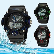 OHSEN Mens LED Watch Analog LED Digital Sport Soft Rubber Watch Army Military