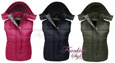 LADIES WOMENS QUILTED HOODED SLEEVELESS GILET BODYWARMER JACKET PLUS SIZE 18 20