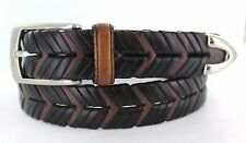 """1 1/8"""" Braided Leather Belt Men's Casual Dress Brown NEW Sizes 32"""" , 34"""", 36"""""""