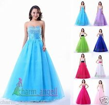 Stock Strapless Long Prom Dress Formal Quinceanera Party Dresses Ball Gowns