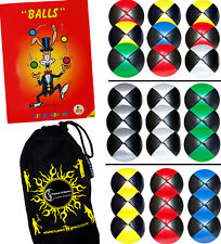 Pro Thud Juggling Balls Set of 3 - Leather juggling Ball Set +Tricks Book & Bag