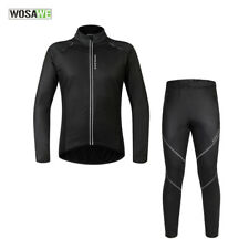 Men' Winter Fleece Thermal Cycling Jacket Windproof Coat Jackets +Trousers Sets