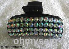 """NEW  BLACK PLASTIC HAIR CLIP / COMB /CLAW 3  """"LONG/ MULTICOLOR STONE FLAT BOTTOM"""