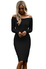 New Sexy Womens Black Off Shoulder Long Sleeve Rib Knit Sweater Bodycon Dress