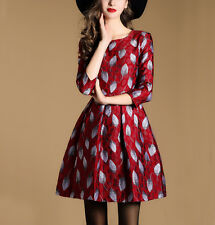Women's Red Leaves Jacquard Cocktail Evening Party Mini Full Dress Size 6 To 14