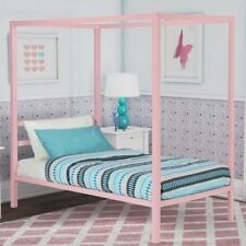 Girls Twin Full Size Pink Metal Canopy Bed Frame Headboard Bedroom Furniture
