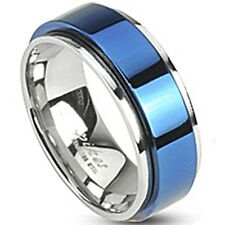 SPIKES 316L Stainless Steel Electric Blue IP Spinning Center MEN'S Ring