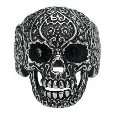 Inox Jewelry 316L Stainless Steel Women's Sugar Skull Biker Ring