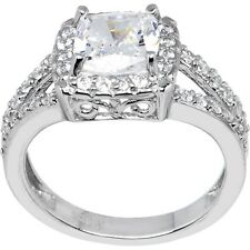 Sterling Silver Princess Cubic Zirconia Ring -2.31 ct tw