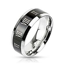 Spikes Stainless Steel 6mm Black IP Roman Numeral Band Ring