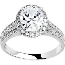 Sterling Silver Oval Cubic Zirconia Ring -2.87 ct tw
