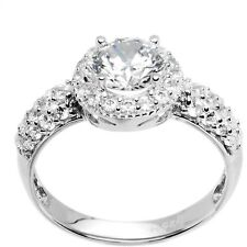 Sterling Silver Round Cubic Zirconia Ring -1.23 ct tw