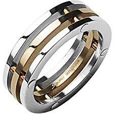 SPIKES 316L Stainless Steel IP Rose Gold Center of Attention Ring