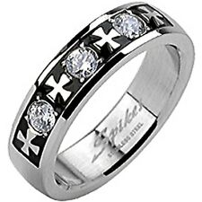 SPIKES 316L Stainless Steel Tribal Carve Single CZ Ring