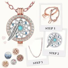 33MM MY Coin Mi CZ Crystal Disc Charms Long Locket Pendant Necklace Family Gifts